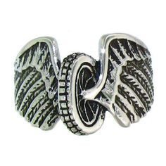 Large Surgical Steel Wings and Wheel Biker Ring SZ 9 - 16