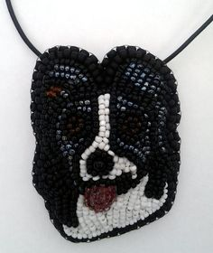 Border Collie Dog Beaded Pendant