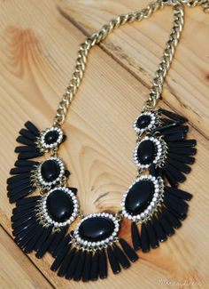 Black Get Your Shine On Tassel Fringe Statement Necklace