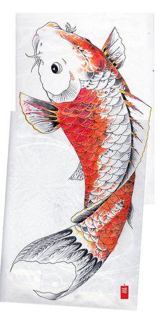 koi japanese tattoo flash study of Horicho