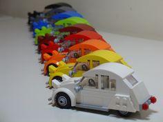 #Rainbow set of little #lego #citroen 2CVs. Too cool.