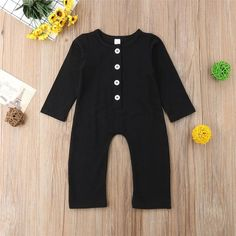 Unisex Organic Cotton Romper- A great basic piece for both boys & girls! Fabric: organic cotton Share your pics Jumpsuit With Sleeves, Matching Family Outfits, Baby Outfits Newborn, Black Romper, Latest Fashion For Women, Organic Cotton, Kids Outfits, Rompers, Unisex