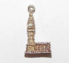Vintage Sterling Silver Bracelet Charm Big Ben Clocktower London England (1.8g)
