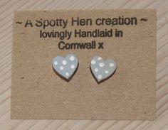 Wedding favour seaside / beach theme. Wooden Heart Studs Cornflower Blue with Cute Polka by spottyhen, £3.00