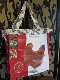 Recycle Chicken Feed Bag  Tote by CraftsGreatandSmall on Etsy, $12.00