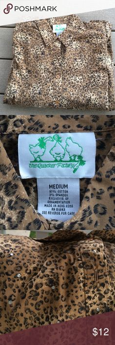 Quaker factory leopard and rhinestone button down Gently used Tops Button Down Shirts