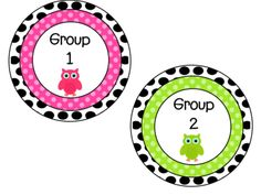 Bright Polka Dot and Owl Reading Group Labels from Atorr87 on TeachersNotebook.com -  (3 pages)  - The four labels are used for reading groups 1-4 and are clearly labeled. They are also color coded (pink, blue, orange and green). Just print and laminate and use them in your classroom!