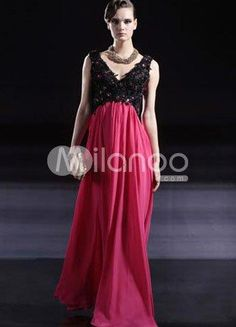 Sexy Black Pink Chiffon Satin Beaded V-Neck Womens Evening Dress. Sexy Black Pink Chiffon Satin Beaded V-Neck Womens Evening Dress. See More V-Neck at http://www.ourgreatshop.com/V-Neck-C964.aspx