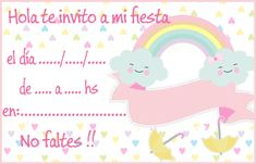 invitacion-tarjetita -candy bar lluvia de amor kit imprimible Cloud Party, Girl Birthday, Happy Birthday, Baby Shawer, Barbie, Ideas Para Fiestas, Art Classroom, Unicorn Party, Christening