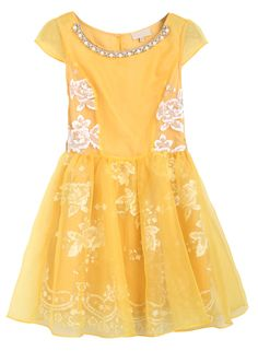 Yellow Short Sleeve Bead Embroidery Flare Dress - modern Belle from Beauty and the Beast!