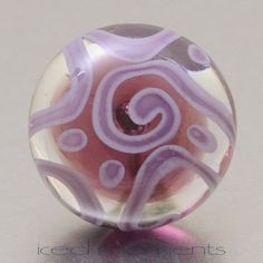 Lapel pin  Helix  purple and violet  lampwork glass by IcedMoments, $15.00