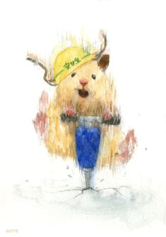 Japanese Artist Depicts the Typical Life of His Hamster Gotte, a Japanese artist and art college graduate, has focused his creative skills on a very c Cute Animal Drawings, Animal Sketches, Cute Drawings, Art And Illustration, Watercolor Pictures, Watercolor Art, Japanese Hamster, Art Amour, Art Mignon