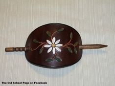 Items similar to Handmade Leather Stick Barrette Stamped with Daisy on Etsy Hair Barrettes, Headbands, Vintage Leather, Handmade Leather, Leather Projects, Hair Sticks, Hair Ornaments, Vintage Hairstyles, Leather Tooling