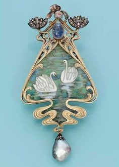 AN ART NOUVEAU ENAMEL AND GEM-SET PENDANTBROOCH, BY ROBERT KOCH. Designed as a pliqué-a-jour enamel scene of two swans on water, the surmount designed as diamond-set waterlilies, an iris and an oval sapphire, and supporting a drop-shaped grey pearl, circa 1900, 8.2 cm long, in grey leather fitted case by Koch, Frankfurt, Baden.