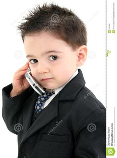 Adorable Babies | Adorable Baby Boy in Suit on Cellphone