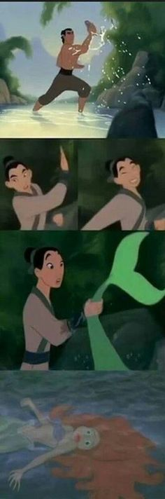Funny pictures about Just Mulan catching a fish when suddenly. Oh, and cool pics about Just Mulan catching a fish when suddenly. Also, Just Mulan catching a fish when suddenly. Disney Pixar, Funny Disney, Humour Disney, Disney Amor, Disney Jokes, Disney Fun, Disney And Dreamworks, Disney Magic, Walt Disney