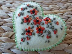 Hand Embroidered Cream Coloured Felt Pin ♥ by sweetheartsandroses, $14.00