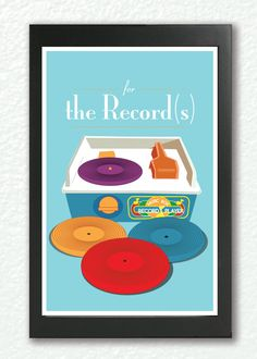 For the record (s) - Retro poster, quote print, pop art, nursery art, inspirational quote, motivational wall art - Geekry, Vintage Fisher record player