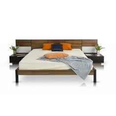 Wood Panel Headboard Bed with Nightstands