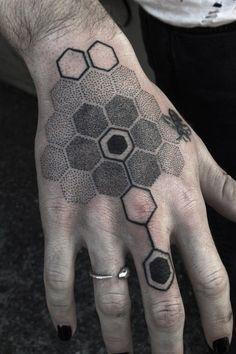 These People Got Utterly Amazing Blackwork Tattoos Hand Tattoos, Dot Tattoos, Body Art Tattoos, Sleeve Tattoos, Tatoos, Hexagon Tattoo, Honeycomb Tattoo, Geometric Sleeve Tattoo, Form Tattoo