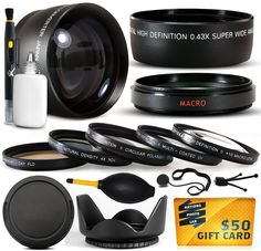 10 Piece Ultimate Lens Package For the Canon PowerShot S3 IS S2 IS S5 IS Digital Camera Includes .43x High Definition II Wide Angle Panoramic Macro Fisheye Lens + 2.2x Extreme High Definition AF Telephoto Lens + Professional 5 Piece Filter Kit (UV, CPL, FL, ND4 and 10x Macro Lens) + Tube Adapter + Flower Lens Hood + Deluxe Lens Cleaning Kit + LCD Screen Protectors + Mini Tripod + 47stphoto Microfiber Cloth + $50 Photo Print Gift Card!