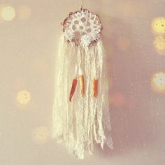 """- Made to order! -   Boho chic """"Dream Flower"""" small dream catcher  Handmade of metal hoop wrapped with jute , crochet  cotton doily, laces, fabric flowers and hand painted ... #etsy #boho #bohemian #gypsy #hipster #dreamcatcher"""