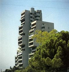 Difros highrise residential complex (1975), Ethnikis Antistaseos (Chalandri).    Designed by Alexandros Tompazis, it is influenced by Japanese brutalism and metabolism.