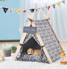 Dog Double Strut Teepee Furbabeez Pet Boutique - The Ultimate Dog Bed For The Interior Designer Look Room The Dog Teepee Will Add A Touch Of Class To Your Home Natural Cotton Cover Removes For Washing Natural Pine Support Beams Eco Friendly In Cat Teepee, Teepee Play Tent, Bed Tent, Decoration Surf, Pet Kennels, Indoor Pets, Dog Rooms, Pet Boutique, Pet Furniture