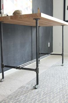 DIY Butcher Block and Pipe Workbench