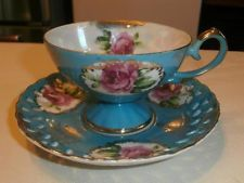VTG LEFTON CHINA HAND PAINTED TEAL FOOTED W ROSES CUP RETICULATED SAUCER SET