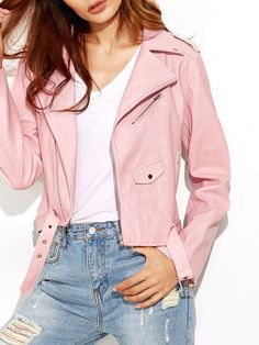 #AdoreWe #SheIn Jackets - SheIn Pink Faux Leather Asymmetric Zip Biker Jacket - AdoreWe.com