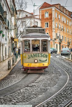 The Jameson's Tram 28 Lisbon Portugal Lisbon Tram, Lisbon City, Tramway, Bonde, Railway Posters, Visit Portugal, London Transport, Light Rail, City Break
