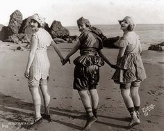 Hollywood silent film starlets,  beachside on Catalina Island, off the coast of Los Angeles, CA. 1918.