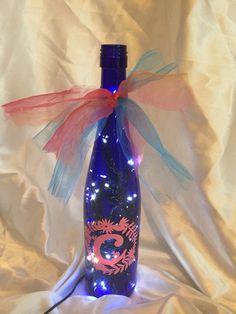 Monogrammed lighted wine bottle
