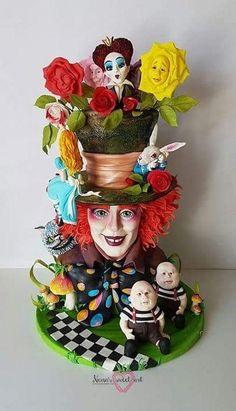 Alice in wonderland 273 Source by Alice In Wonderland Decorations, Alice In Wonderland Cakes, Alice In Wonderland Wedding, Crazy Cakes, Fancy Cakes, Cute Cakes, Disney Themed Cakes, Disney Cakes, Bolo Tumblr