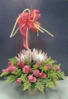 Protea & pink Roses bouquet.