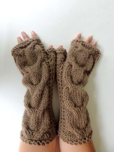Hand Knitted Cable Fingerless Gloves. Brown or 44 Different Colors. Arm Warmers with Bulky Braids. Warm Accessory for Women and Teens. by VividBear on Etsy