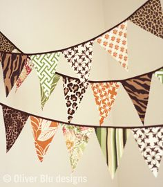 Mini pennant fabric banner - bunting in jungle and safari animal prints - photo prop, nursery or party decor