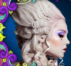 marie antoinette make up, love the use of colour (blending, E shape) and pop of colour on the lips (in the centre)