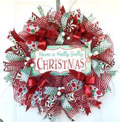 Red Mint Green Christmas Retro Wreath, Retro Christmas Wreath, Holly Jolly Christmas Mesh Wreath, Red Mint Deco Mesh Christmas Wreath