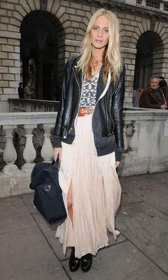 Poppy Delevigne. leather jacket + flowy feminine skirt