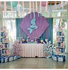 Mermaid Birthday Decorations, Mermaid Theme Birthday, Girl Birthday Themes, 4th Birthday Parties, Baby Birthday, Mermaid Baby Showers, Baby Mermaid, Diy Party Needs, Girl Superhero Party