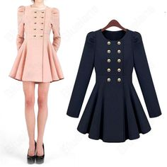 Discount China china wholesale Women Slim Trench Bubble Sleeve Dress Hem Jacket Double Breasted Swee
