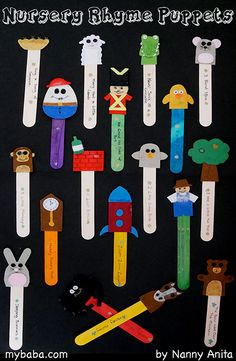 DIY nursery rhyme puppets: perfect for circle times at nursery. Use them as props so that children can choose what to sing. They also make great props to act out the songs. Nursery Rhyme Crafts, Nursery Rhymes Games, Nursery Rhymes Preschool, Nursery Rhyme Theme, Nursery Songs, Rhyming Preschool, Rhyming Activities, Toddler Activities, Preschool Activities