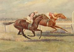 Champion mare WAKEFUL (Aus) B f 1896. Trenton (NZ) - Insomnia. 44 starts, 25 wins, 16 placings, under hard riding from jockey Frank Dunn, just goes down to IBEX (Aus) Ch c 1898, Gossoon (GB) - Angora, in the 1902 VRC Flying Stakes. Painted by acclaimed Australian equine artist, Martin Stainforth.  (Australian Turf History Books - Thoroughbred Horse Racing and Breeding Forums).