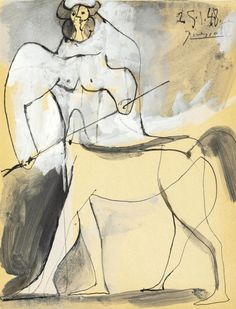 thunderstruck9:  Pablo Picasso (Spanish, 1881-1973), Minotaure, 25 January 1948. Gouache, pen and India ink and brush and grey wash on paper, 27 x 21 cm.