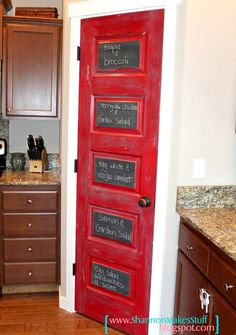 ✐Color: Red ✦ Red kitchen pantry door with chalk paint Red Kitchen Decor, Kitchen Paint, Kitchen Redo, Kitchen Remodel, Kitchen Design, Kitchen Ideas, Kitchen Pantry Doors, Interior Exterior, Home Projects
