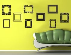 Picture Frames Set of 9 Vinyl Wall Decals Wall Graphics Art.