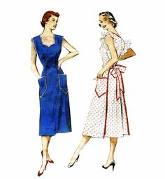 1950s Vintage Coverall Apron Womens 50s Butterick by patternshop, $22.99