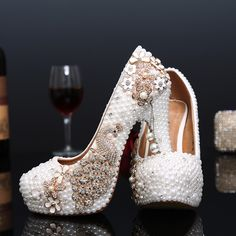 Aliexpress.com   Buy Crystal wedding shoes pearl handmade bridal shoes  women s Pumps peacock rhinestone female high heels platform shoes big size  from ... ef22b0b0a06a